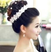 White Bridal Wedding Flower Lace Fiara Hair Clip Headdress Headband Headwear x1