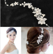Deluxe Women Crystal Rhinestone Bridal Wedding Flower Pearl Headband Tiara Clear