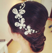 Lady Rhinestone Floral Butterfly Bride Wedding Bridal Headdress Headband Tiara