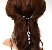 STEVE YIWU® Fashion Women lady Girls Vintage Retro Bohemian Style Versatile Silver Rhinestone Crystal Leaves Tassel Hair Clips
