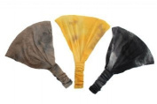 Boho Tie Dye Soft Stretchy Headband Trio Brown, Yellow, Black.