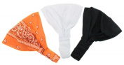 Bandana Boom Soft Stretchy Headband Trio Orange Paisley Print Solid Black White.