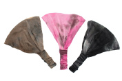 Boho Tie Dye Soft Stretchy Headband Trio Brown, Pink, Black.