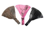 Boho Tie Dye Soft Stretchy Headband Trio Brown, Pink, Black.