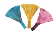 Boho Tie Dye Soft Stretchy Headband Trio Turquoise Blue, Yellow, Pink.