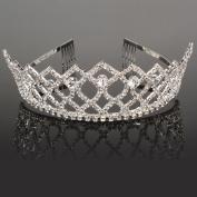 Mefeir Charming Rhinestone Rhombus Flower Design Tiara Crown Headband Comb...