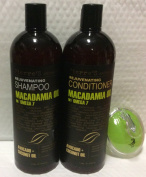 Macadamia oil with Omega 7 oil Rejuvenating Shampoo 1000ml, Conditioner 1000ml and AJ shampoo Brush Bundle
