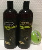 Macadamia oil with Omega 7 oil Rejuvenating Shampoo 1000ml, Conditioner 1000ml and AJ shampoo Brush Bundle