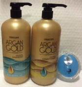 Argan Gold nourishing Shampoo 1000ml & Conditioner 1000ml Set with Pump and AJ shampoo Brush
