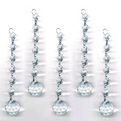 Magnificent Clear 5 Pieces Diamond Hanging Crystal Garland Wedding Strand with 6 Beads and 30mm Ball Prism Pendant Accent, By CrystalPlace