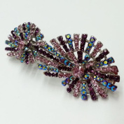 Crystal Rhinestone Hair Clip Barrette, 7.6cm - 1.3cm x 2.5cm - 1.3cm , Pink/Purple, BAR-3014C