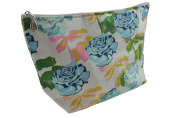 Dana Herbert Designer Travel Cosmetic Tolietries Bag, Size Large 15cm x 25cm Cotton with Plastic Liner, Handmade in USA, Turquoise and Pink Rose Pattern