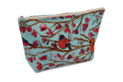 Dana Herbert Designer Travel Cosmetic Tolietries Bag, Size Large 15cm x 25cm Cotton with Plastic Liner, Handmade in USA, Aqua and Red Birds Pattern