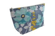 Dana Herbert Designer Travel Cosmetic Tolietries Bag, Size Large 15cm x 25cm Cotton with Plastic Liner, Handmade in USA, Aqua Charcoal Floral Pattern
