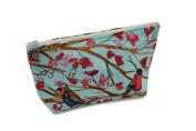 Dana Herbert Designer Travel Cosmetic Tolietries Bag, Size Medium 13cm x 23cm Cotton with Plastic Liner, Handmade in USA, Aqua and Red Birds Pattern