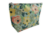 Dana Herbert Designer Travel Cosmetic Tolietries Bag, Size Large 15cm x 25cm Cotton with Plastic Liner, Handmade in USA, Mint Floral Pattern