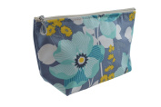 Dana Herbert Designer Travel Cosmetic Tolietries Bag, Size Medium 13cm x 23cm Cotton with Plastic Liner, Handmade in USA, Aqua Charcoal Floral Pattern