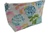 Dana Herbert Designer Travel Cosmetic Tolietries Bag, Size Small 10cm x 18cm Cotton with Plastic Liner, Handmade in USA, Turquoise and Pink Rose Pattern