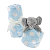 Baby Security Blanket-Blue with White Dots- With Toy Elephant