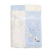 Kyle & Deena Bear Velboa Plush Blanket, baby boy, 80cm x 80cm