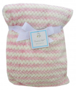 Elements of Style Soft Baby Blanket - Pink and White Zigzags - 80cm x 100cm