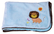 Premium Double Layered Baby Blue Toddler Blanket with Sun and Lion Design