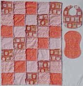 Sweet Treats with Coordinating Prints in coral and pink Baby Rag Quilt with Matching Burp Cloth and Bib