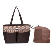 Mengma Large capacity waterproof Nylon Nappy Tote Hobos maternity Nursing baby bag Mothers sorting bag zipper closure Brown