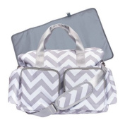 Chevron Deluxe Grey and White Baby Nappy Bag