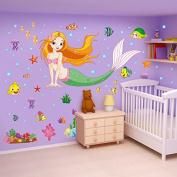 Mermaid Home Decor Creativity lovely Gift Wall Stickers Vinyl Art Decal Mural Mermaid Home Decor Customised Colour