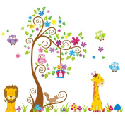 Giant Wall Decals for Kids Rooms, Nursery, Baby, Boys & Girls Bedroom - Peel & Stick, Large Removable Vinyl Wall Stickers - 106 Individual Sticker of Tree, Cute Animals, Owl and Colourful Flowers