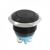 Baomain Surface Oxidation Momentary Push Button Switch Black 16mm SPST ON/OFF