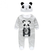 FTXJ Baby Jumpsuits, Panda Pattern Rompers With Hat Long Sleeve Bodysuits Grey