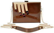 Vendula London Women Designer Handbags Ladies Lips Nail Art Clutch - Brown