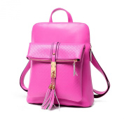 Hynbase Women Fashion Loverly Cute Tassel Leather Backpack Shoulder Bag