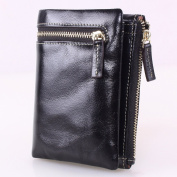 Artmi Leather Wallet Womens Small Purse with Zipper Bifold Wallets ID Window