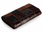 ELFISH Genuine Leather Multi-Function Tri-fold Wallet For Ladies Embossed