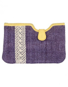 Eye-Catching Cotton & Durrie Blue Pouch Designer Lace Work For Womens By Rajrang