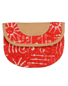 Online Cotton Durrie & Faux Leather Red Pouch Floral Printed For Womens By Rajrang