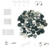 Jet Black ~ Hematite ~ Silver Tone Bead Set