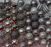20mm Bulk Mix of 52 Grey and Silver Chunky Bubblegum Beads 11 Styles Acrylic Gumball Beads Lot
