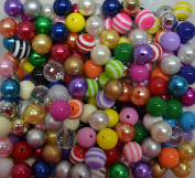 16mm Bulk Mix of Solid, Stripe, Pearl Chunky Bubblegum Beads 15 Colours, 4 types 250 Acrylic Gumball beads