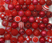 20mm Bulk Mix of 52 Red Chunky Bubblegum Beads 11 Styles Acrylic Gumball Beads Lot