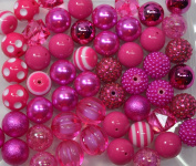 20mm Bulk Mix of 52 Hot Pink Chunky Bubblegum Beads 11 Styles Acrylic Gumball Beads Lot