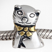 Ollia Sterling Silver Beads Sitting Poppy Cat Charm with Gold Plated Bow Knot Pet Animal Bead Charm