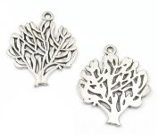 SILVER TREE OF LIFE METAL PENDANT CHARMS 24x29mm
