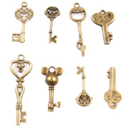 49pcs Assorted Keys Charms Vintage Bronze Tones Alloy Jewellery Making Findings Accessories