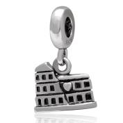 Rome Coliseum 925 Sterling Silver Dangle Bead Fit Pandora Charms Bracelet