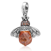 925 Sterling Silver Dangle Bee Charm with Faceted Topaz Zircon Stone Fit Pandora Bracelet