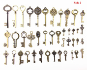 Makhry Large Skeleton Antique Keys in antique Style - Mixed 42pcs Bronze Key